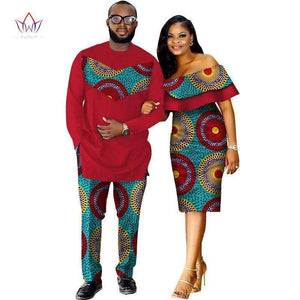 Dashiki Print Couples Matching Clothing for Lovers | Two Piece Set Men's Suit Plus Women's Ruffle Sleeve Bodycon Dress