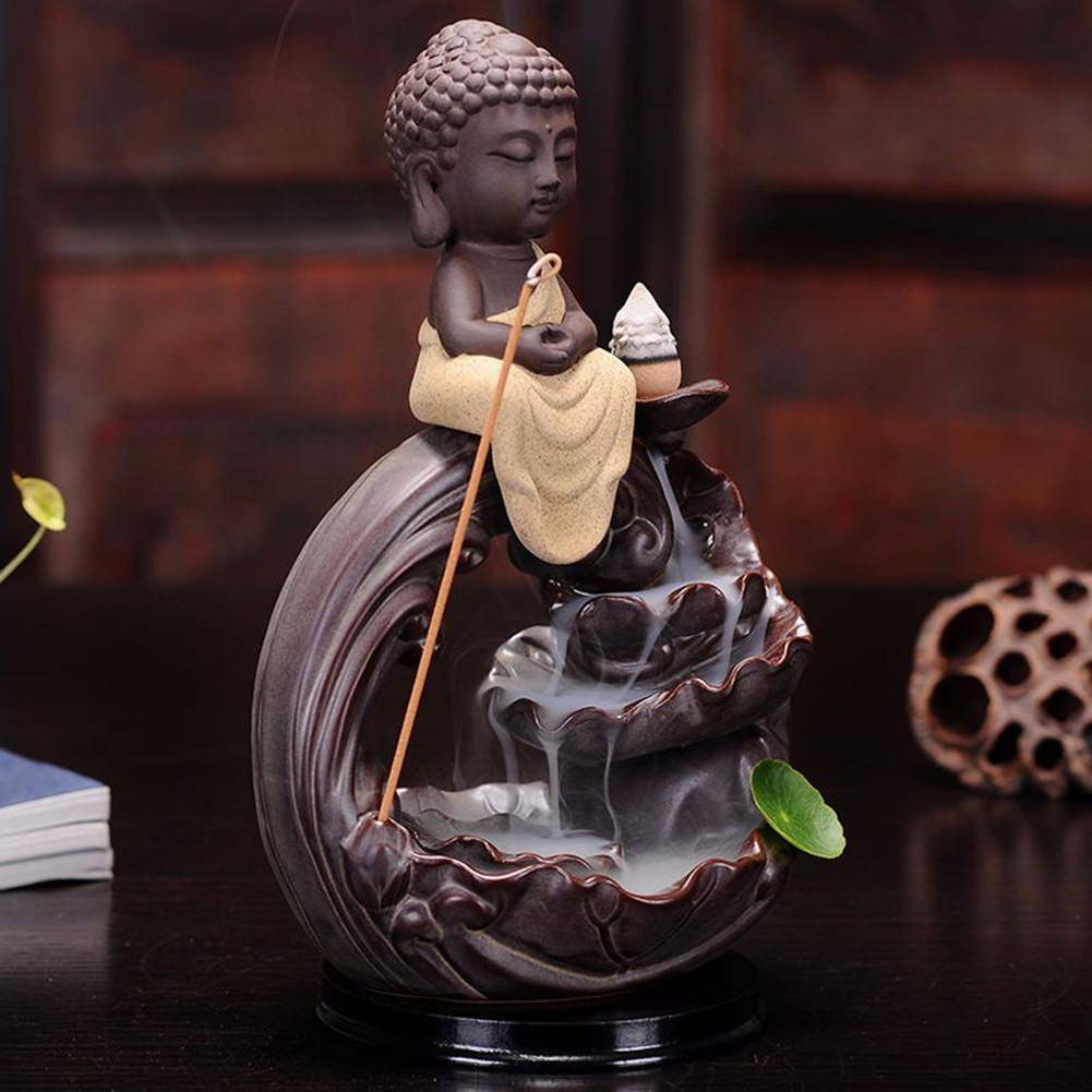 Decoration - Figure Of Buddha Ceramic Censer Smoke Backflow Incense Burner
