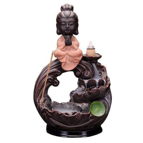 Image of Decoration - Figure Of Buddha Ceramic Censer Smoke Backflow Incense Burner