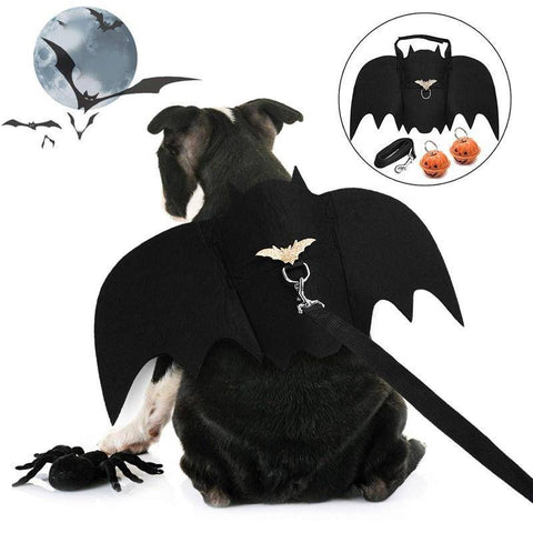 Image of Dog Leash - Bat Wings Halloween Costumes For Dogs With Dog Leash And Pumpkin Bells