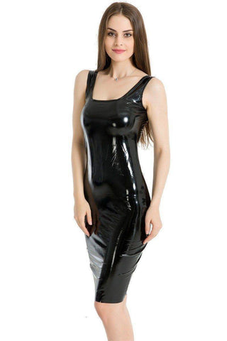 Dresses - Sexy Black Latex Club Dress | Sheath Sleeveless Tank