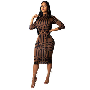Dresses - Striped Side Sheath Mid-Calf Dress