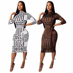 Striped Side Sheath Mid-Calf Dress