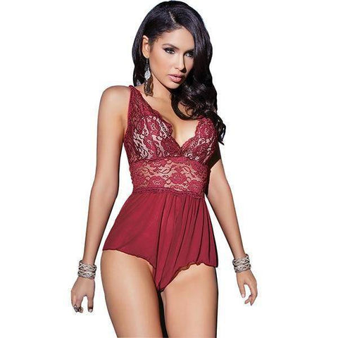 Image of Full Slips - Open Crotch Sexy Hot Mini-dress Lace Slips Lingerie Ladies Sleepwear