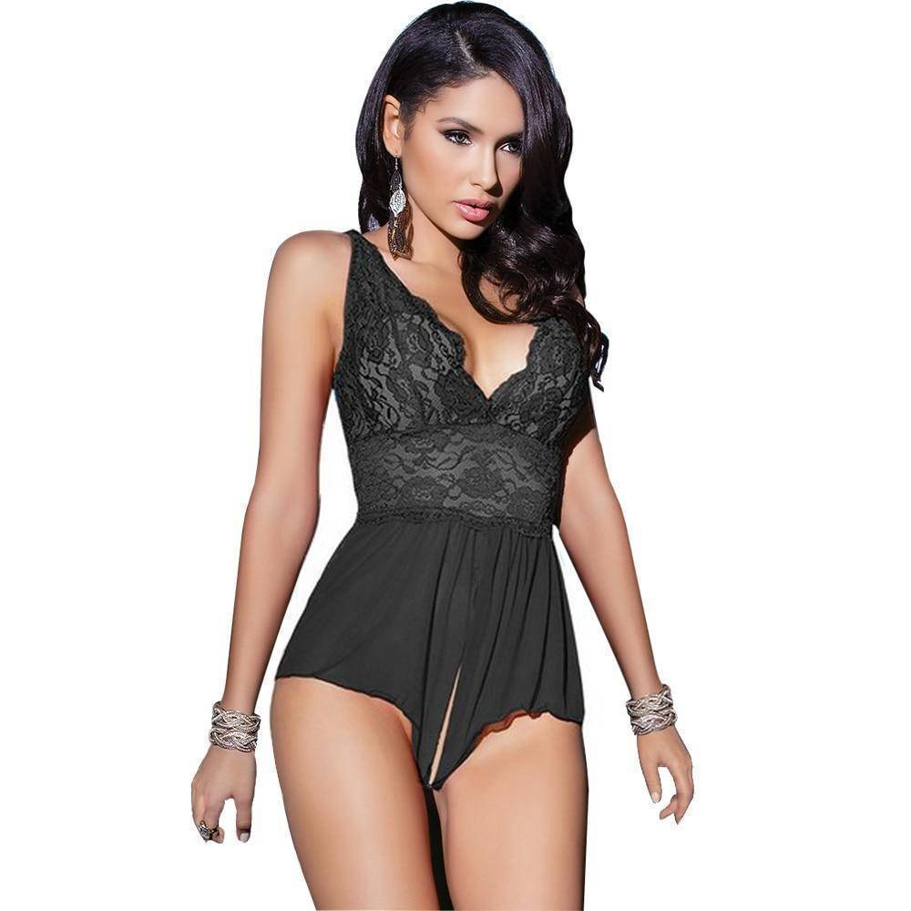 Full Slips - Open Crotch Sexy Hot Mini-dress Lace Slips Lingerie Ladies Sleepwear