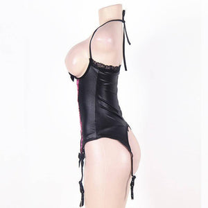 Full Slips - Sexy Women Lingerie  Leather Nightclub Sleepwear | Lace Splicing Underwire Ladies Slip