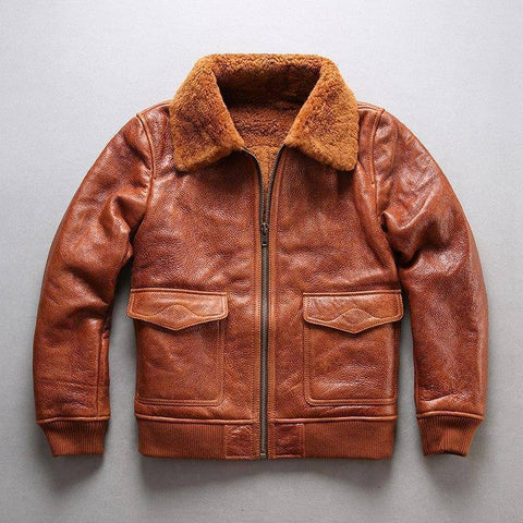Image of Genuine Leather Coats - AVIREX FLY Air Force Flight Suit Genuine Leather Bomber Jacket