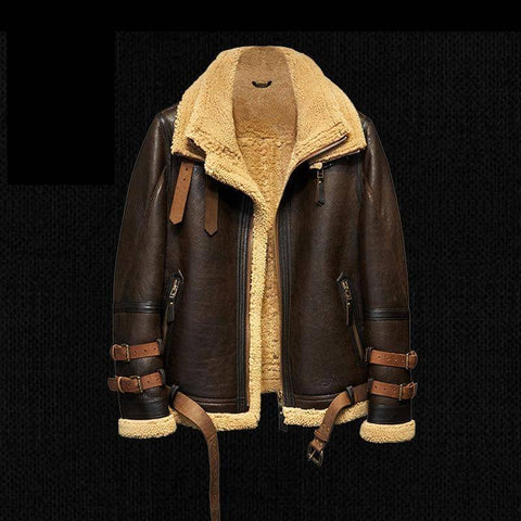 Image of Genuine Leather Coats - B3 Flight Leather Jacket Mans Sheepskin Aviator Fur Coat