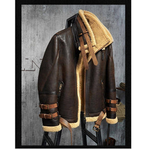 Genuine Leather Coats - B3 Flight Leather Jacket Mans Sheepskin Aviator Fur Coat