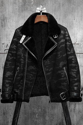 Genuine Leather Coats - Black Camouflage B3  Men's Shearling Leather Jacket | Men's Fur Coat Aviation Leathercraft Pilots