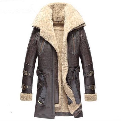 Image of Genuine Leather Coats - Cold-Proof Winter Thick Mid-Long Fur Coats  With Double Collar
