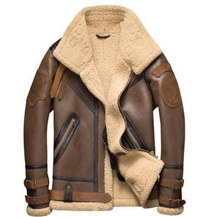 Mens Shearling Leather Jacket | Cracked Texture