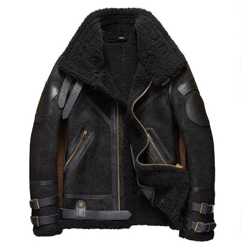 Image of Genuine Leather Coats - Mens B3 Shearling Leather Jacket | Cracked Texture