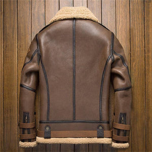 Genuine Leather Coats - Mens B3 Shearling Leather Jacket | Cracked Texture