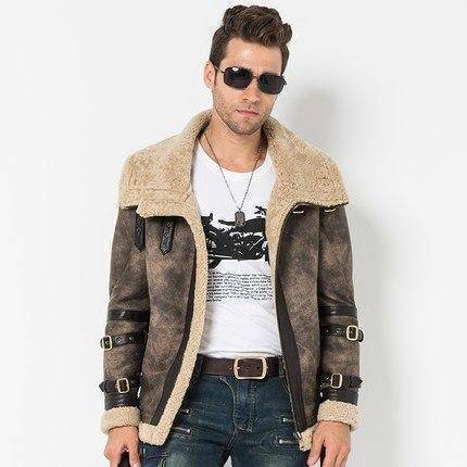 Image of Genuine Leather Coats - Shearling Gray Flight Jacket B3 B2 100% Genuine