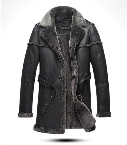 Image of Genuine Leather Coats - Winter Sheepskin Leisure Genuine Leather Fur Men's Jacket