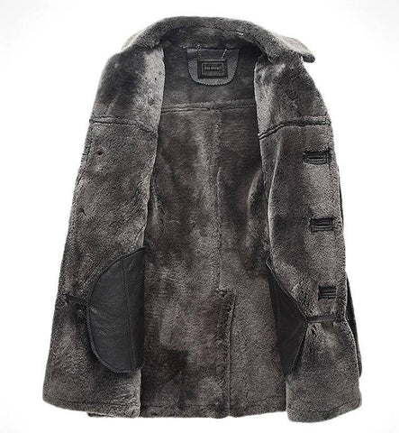 Genuine Leather Coats - Winter Sheepskin Leisure Genuine Leather Fur Men's Jacket
