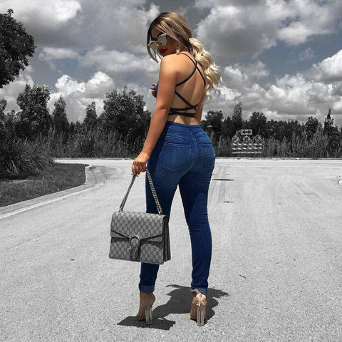 Image of Jumpsuits - Sleeveless Backless Women's Denim Jumpsuit