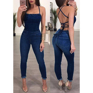 Jumpsuits - Sleeveless Backless Women's Denim Jumpsuit