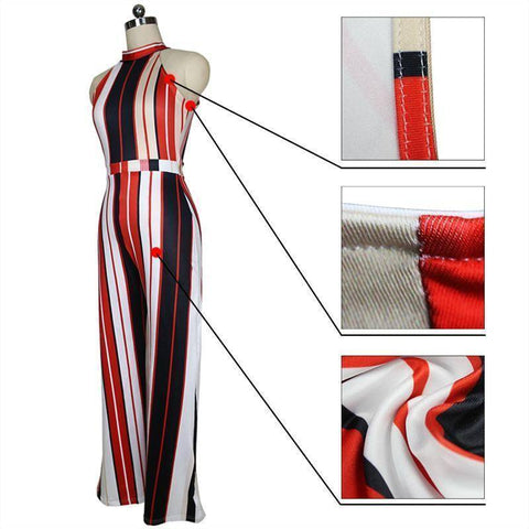Image of Jumpsuits - Women's Elegant Loose Office Sleeveless Striped Halter Plus Size Overalls