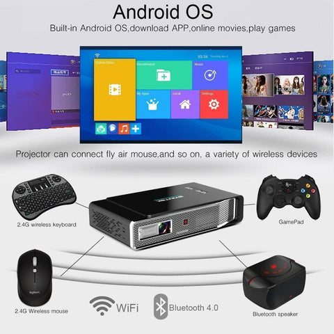 Image of LCD Projectors - WIFI Video Home Theater LED Portable  Mini DLP Projector 3D | Full HD 1080P HDMI 4K