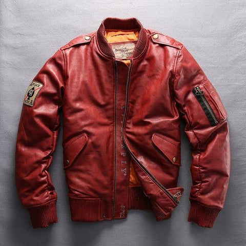 Leather Jacket - AvirexFly 2018 Men's Genuine Leather Down Coats