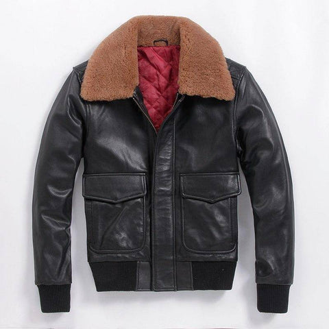 Image of Leather & Suede - AVIREX FLY Genuine Leather Women's Jacket With Fur Collar