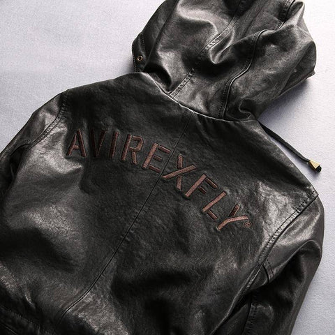 Leather & Suede - Avirex Fly Hooded Leather Jacket