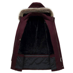 Men's Cashmere Woolen Trench Coat Parka | Winter Fur Collar Overcoat Long Style