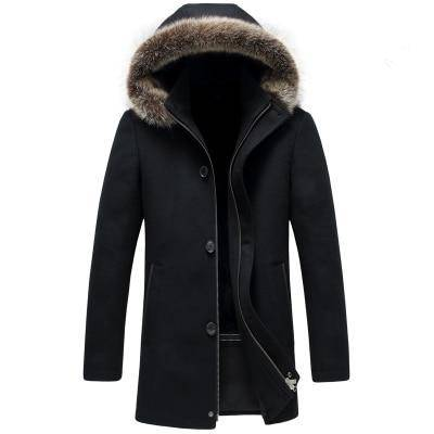 Image of Long Coat Winter - Men's Cashmere Woolen Trench Coat Parka | Winter Fur Collar Overcoat Long Style