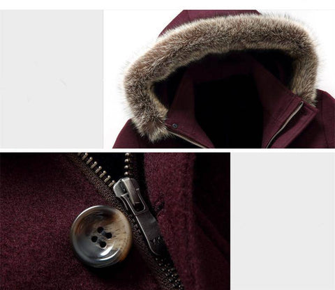Long Coat Winter - Men's Cashmere Woolen Trench Coat Parka | Winter Fur Collar Overcoat Long Style