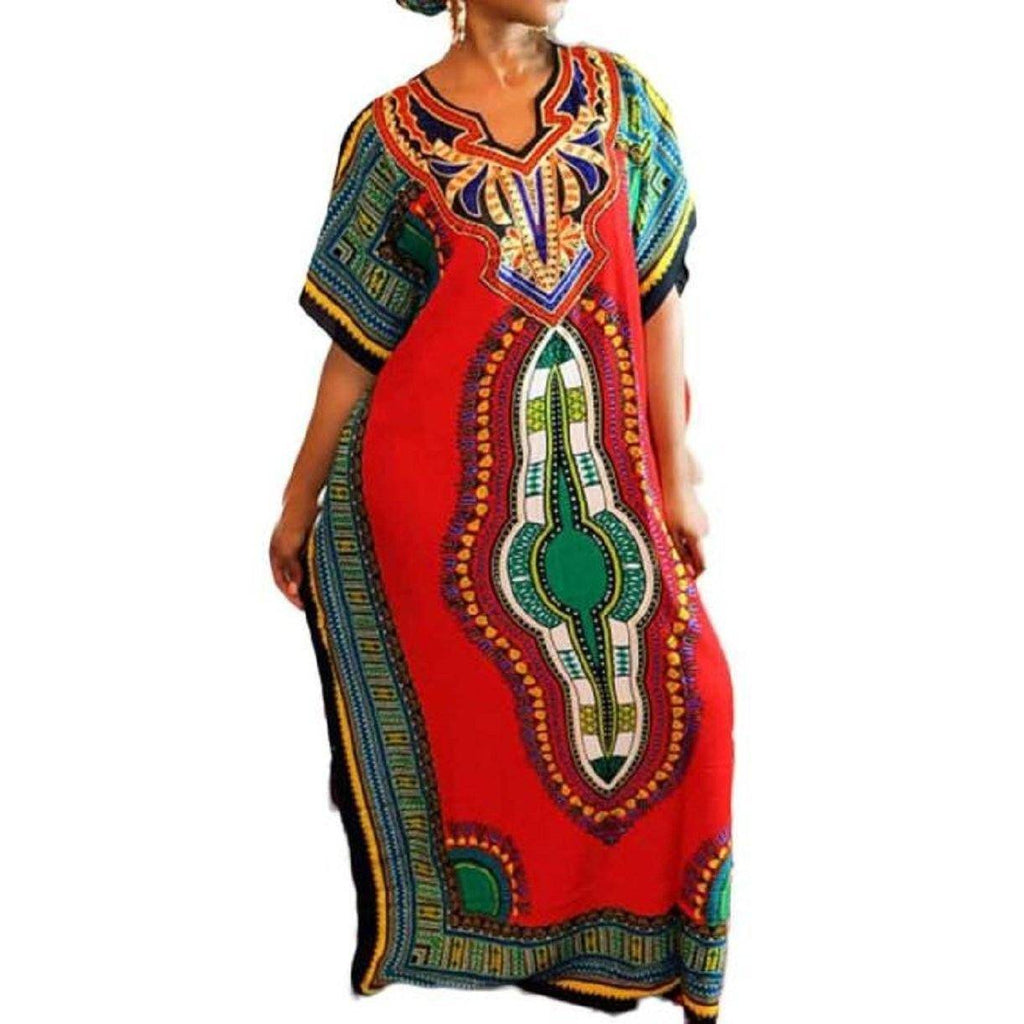 Long Dress - Women Traditional African Print Dashiki Short Sleeve Dress