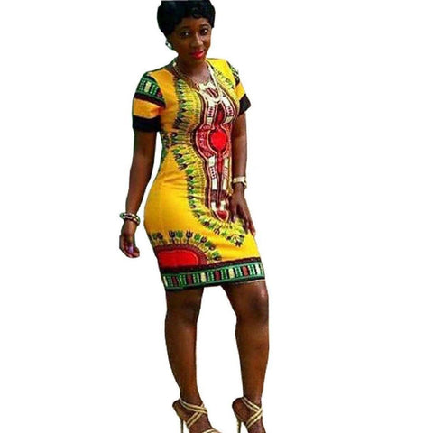 Image of Long Dress - Women Traditional African Print Dashiki Short Sleeve Dress