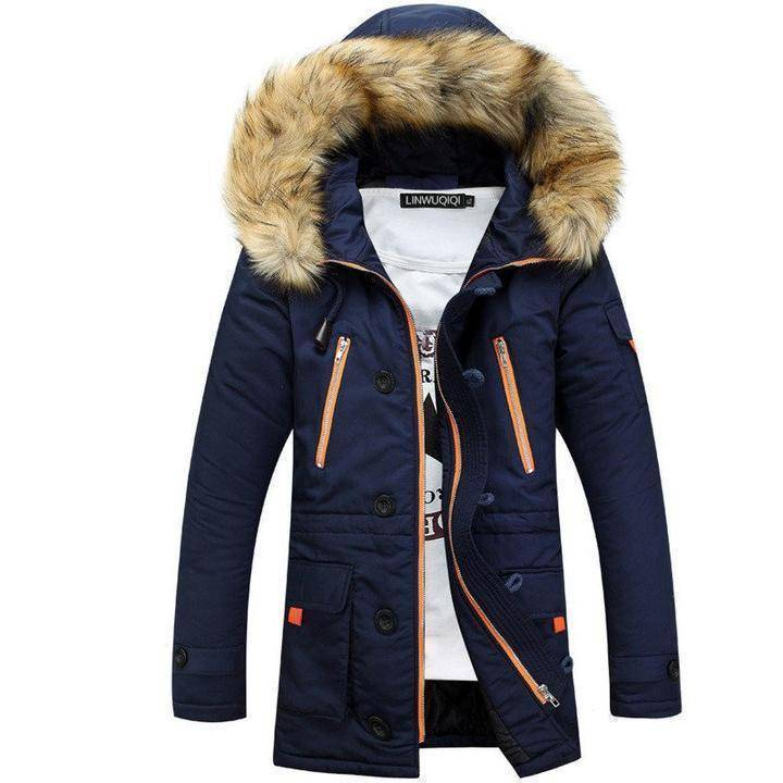 Parkas - Men Winter Big Fur Hooded Jacket
