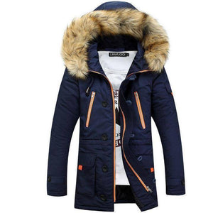 Men Winter Big Fur Hooded Jacket