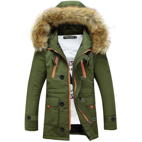 Image of Parkas - Men Winter Big Fur Hooded Jacket