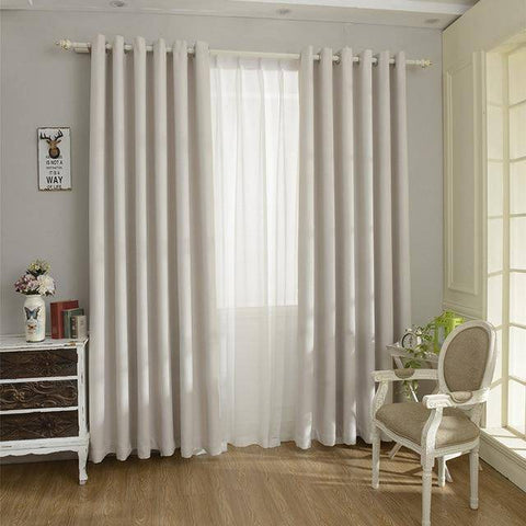 Image of Solid Color  Linen Blackout Curtain for Living Room - CovetedDeals