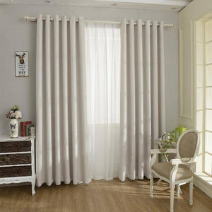 Solid Color  Linen Blackout Curtain for Living Room - CovetedDeals