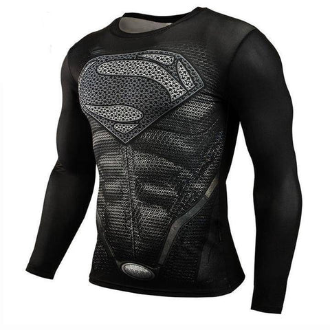 Image of Running T-Shirts - Super Hero Long Sleeve Compression Shirts For Gym