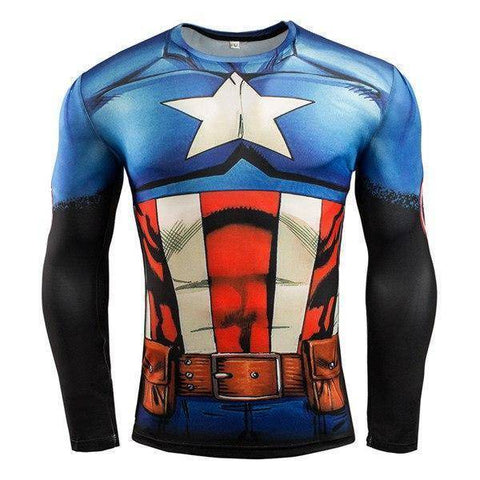 Running T-Shirts - Super Hero Long Sleeve Compression Shirts For Gym