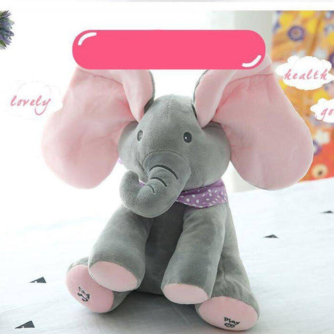 Image of Stuffed & Plush Animals - PlushPeekaboo™ Singing Elephant Stuffed Toy English Version
