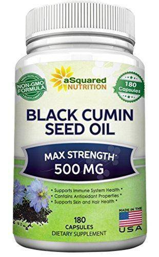 Supplement - Pure Black Cumin Seed Oil 500mg - 180 Capsules - Cold Pressed Black Seed Oil (Nigella Sativa) Supplement Pills To Support Skin & Hair Health
