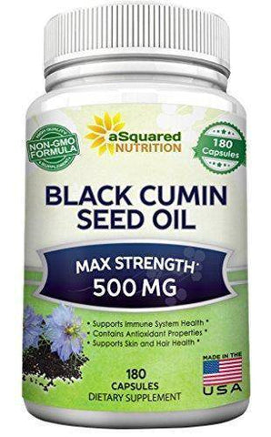 Image of Supplement - Pure Black Cumin Seed Oil 500mg - 180 Capsules - Cold Pressed Black Seed Oil (Nigella Sativa) Supplement Pills To Support Skin & Hair Health