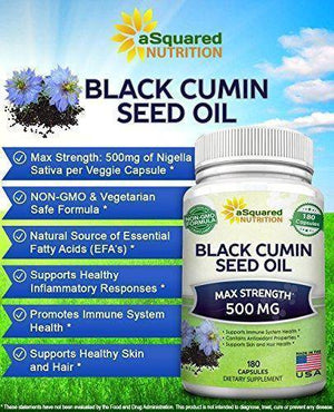 Pure Black Cumin Seed Oil 500mg - 180 Capsules - Cold Pressed Black Seed Oil (Nigella Sativa) Supplement Pills to Support Skin & Hair Health