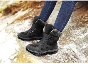 Lace Up Waterproof Women's Leather Suede Winter Boots