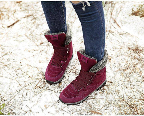 Winter Boot - Lace Up Waterproof Women's Leather Suede Winter Boots