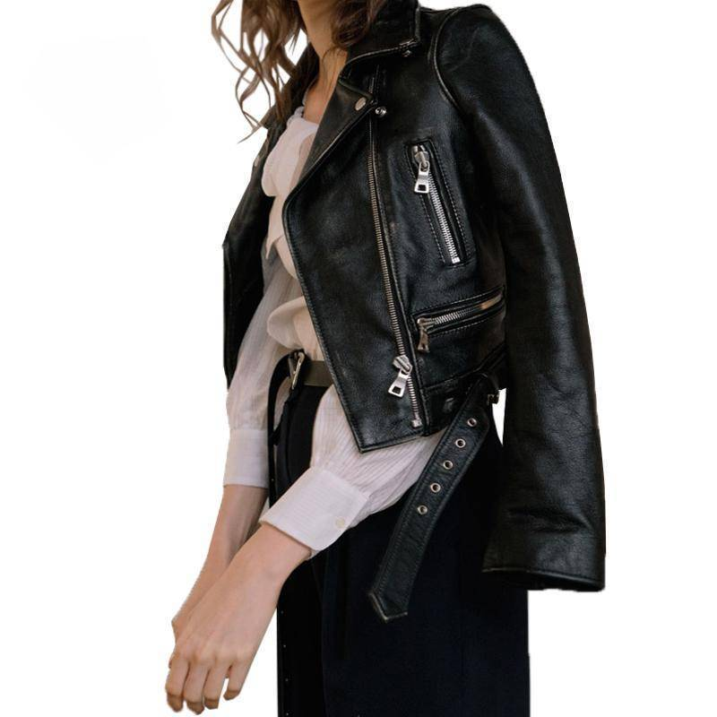 Winter Coat - Women Autumn Winter Black Leather Jackets