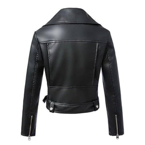 Women Autumn Winter Black Leather Jackets