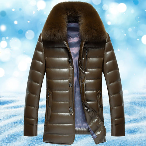 Image of Winter Jacket - Winter Leather Long Fur Coats For Men
