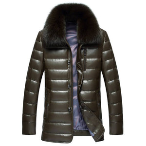 Winter Leather Long Fur Coats For Men